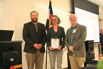 Dr. Nagel receiving her award at the 2019 CO/WY SAF Annual Meeting; Photo Credit: Phil Hoefer